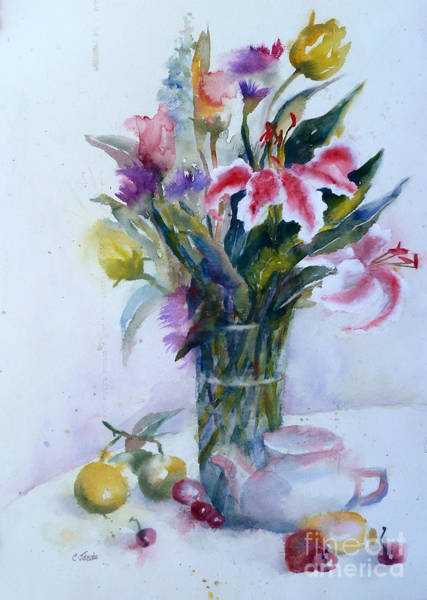 Painting - Flowers And Teapot by Carolyn Jarvis