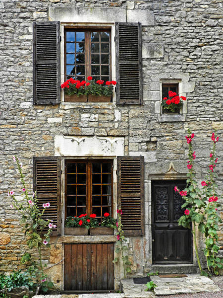 Chateauneuf Photograph - Flowers And Windows by Dave Mills