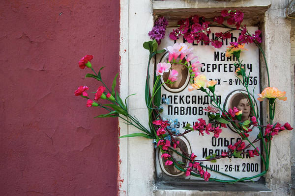 Wall Art - Photograph - Flowers At Grave In Novodevichy Cemetery by Holger Leue