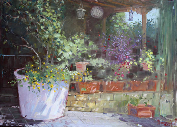 Wall Art - Painting - Flowers At Lida's Veranda by Ylli Haruni
