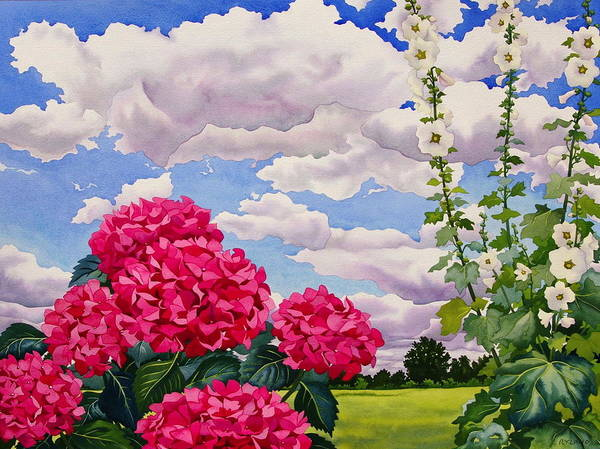 Hollyhock Photograph - Flowers At The Edge Of A Meadow, 2008 Wc On Paper by Christopher Ryland