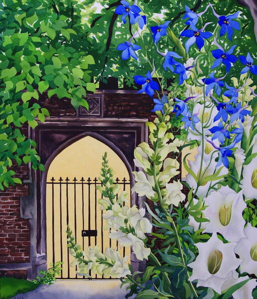 Lock Gates Photograph - Flowers By A Sunlit Gateway, 2008 Wc On Paper by Christopher Ryland