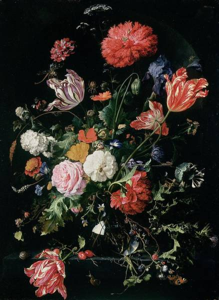 Parrot Painting - Flowers In A Glass Vase, Circa 1660 by Jan Davidsz de Heem