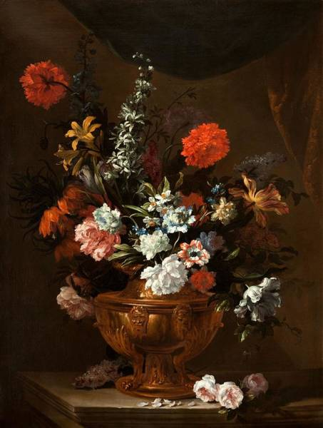 Bronze Painting - Flowers In A Sculptured Vase by Jean-Baptiste Monnoyer