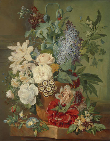 Terracotta Painting - Flowers In A Terracotta Vase by Celestial Images