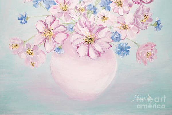 Painting - Flowers In A Vase. Delicate Blue  by Oksana Semenchenko
