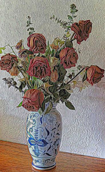 Mixed Media - Flowers In A Vase by Pamela Walton