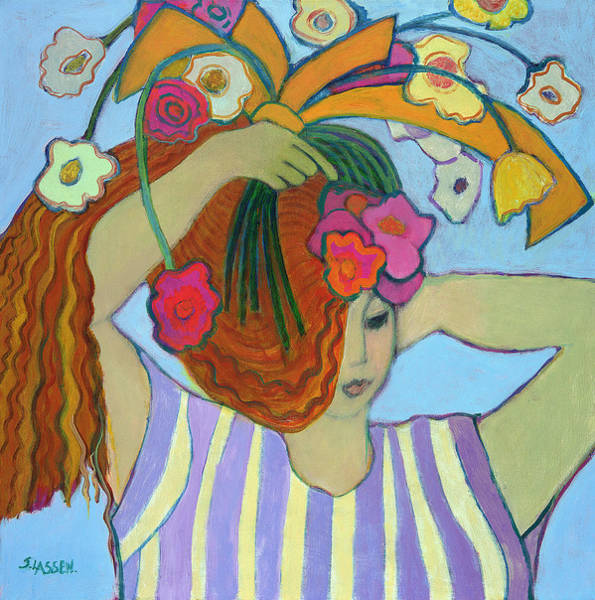Dressing Painting - Flowers In Her Hair, 2003-04 by Jeanette Lassen