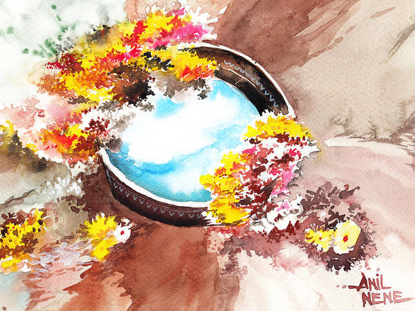 Painting - Flowers N Sky by Anil Nene