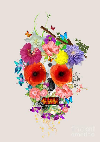 Emotive Digital Art - Flowers Scull  by Mark Ashkenazi