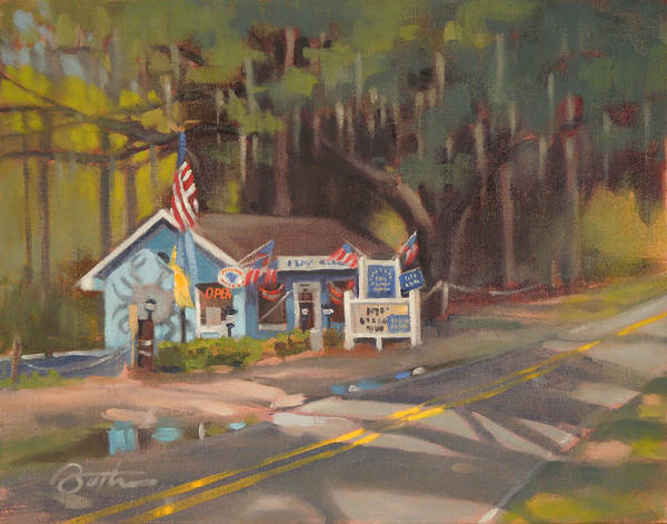 Highway Painting - Flower's Seafood by Todd Baxter