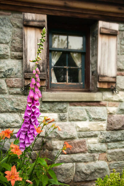 Photograph - Flowers Stone And Old Country Window by Gary Heller