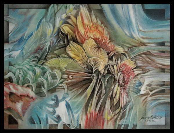 Pastel - Flowerscape1 2009 by Glenn Bautista