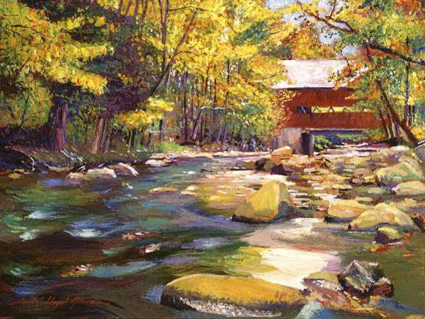 Wall Art - Painting - Flowing Water At Red Bridge by David Lloyd Glover