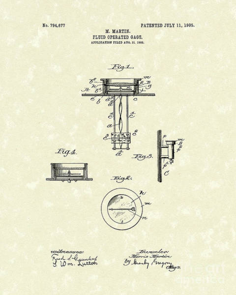 Drawing - Fluid Gauge 1905 Patent Art by Prior Art Design
