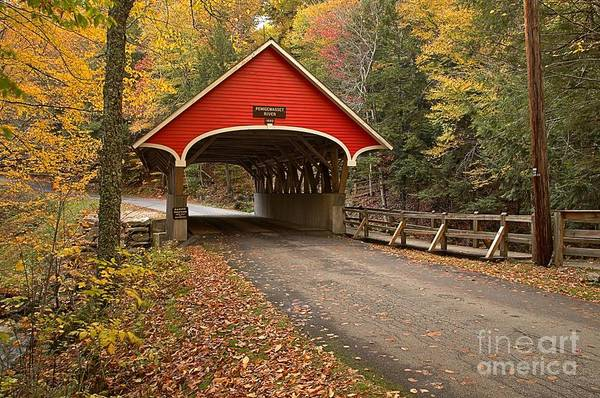 Photograph - Flume Gorge Covered Bridge Fall Colors by Adam Jewell
