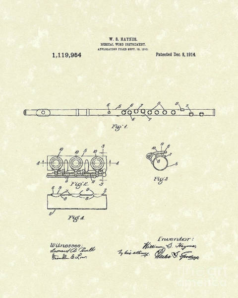 Drawing - Flute 1914 Patent Art by Prior Art Design