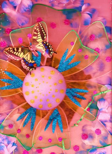 Flutterby Wall Art - Mixed Media - Flutterby Enjoys Life While Stlll In The Pink by Anne-Elizabeth Whiteway