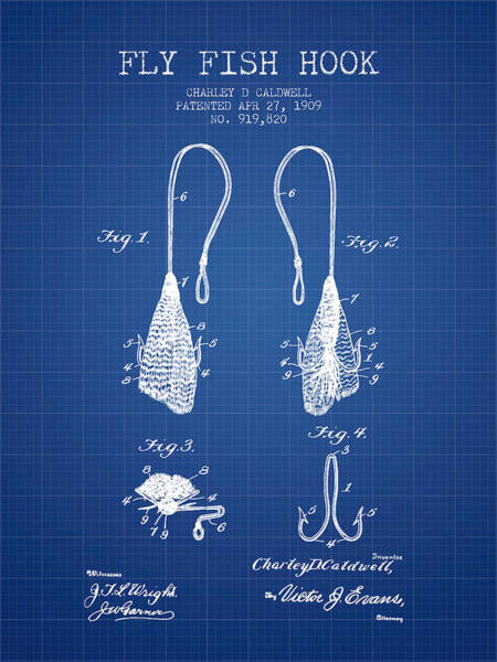 Wall Art - Digital Art - Fly Fish Hook Patent From 1909- Blueprint by Aged Pixel
