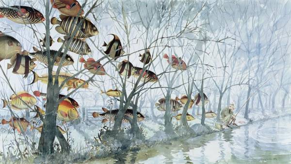 Angling Art Wall Art - Painting - Fly Fishing by Lucy Willis