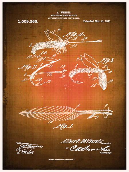 Mixed Media - Fly Fishing Bait Patent Blueprint Drawing Sepia by Tony Rubino