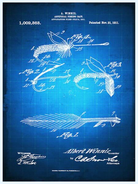 Mixed Media - Fly Fishing Bait Patent Blueprint Drawing by Tony Rubino