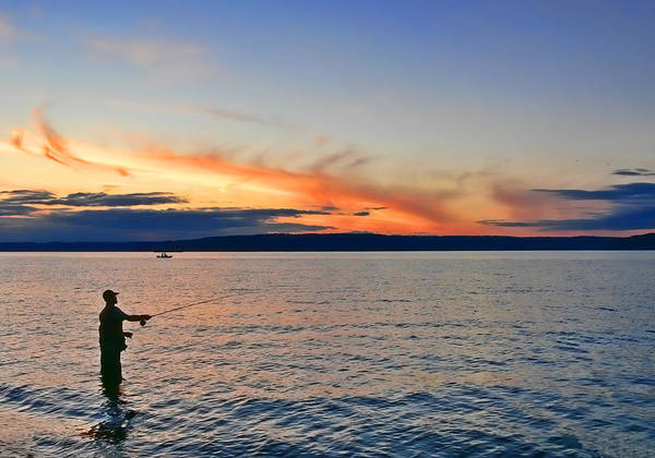 Fly Fishermen Photograph - Fly Fishing  Fisherman On Puget Sound Washington by Jennie Marie Schell