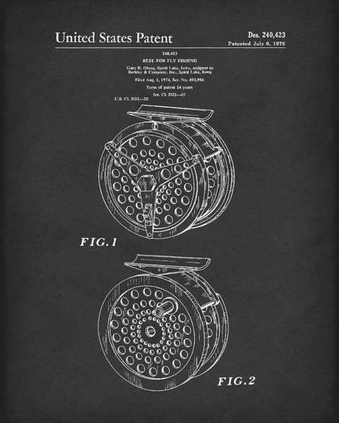 Drawing - Fly Fishing Reel 1976 Patent Art Black by Prior Art Design