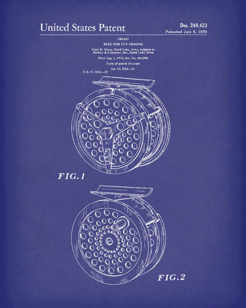 Drawing - Fly Fishing Reel 1976 Patent Art Blue by Prior Art Design