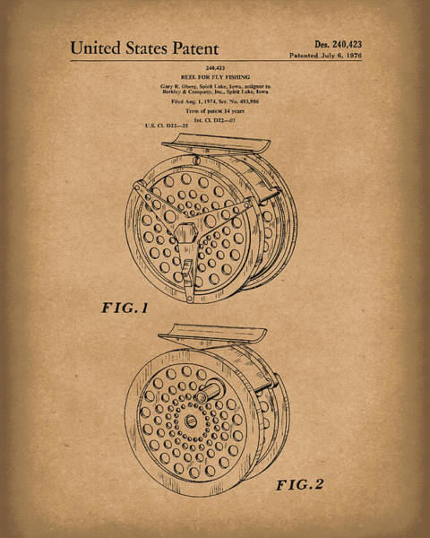Drawing - Fly Fishing Reel 1976 Patent Art Brown by Prior Art Design