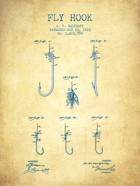Wall Art - Digital Art - Fly Hook Patent From 1923 - Vintage Paper by Aged Pixel