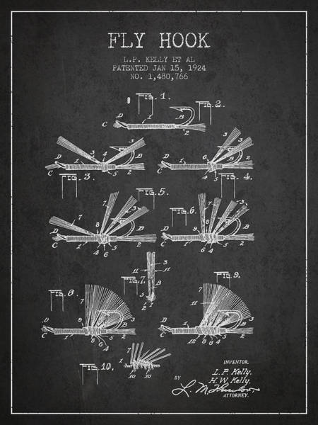 Bait Wall Art - Digital Art - Fly Hook Patent From 1924 - Charcoal by Aged Pixel