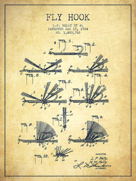 Wall Art - Digital Art - Fly Hook Patent From 1924 - Vintage by Aged Pixel