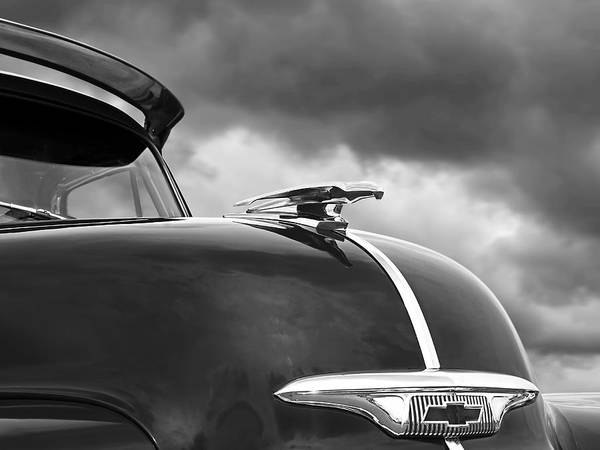 Photograph - Fly Like A Bird - Chevy Hood Ornament Black And White '53 -'54  by Gill Billington