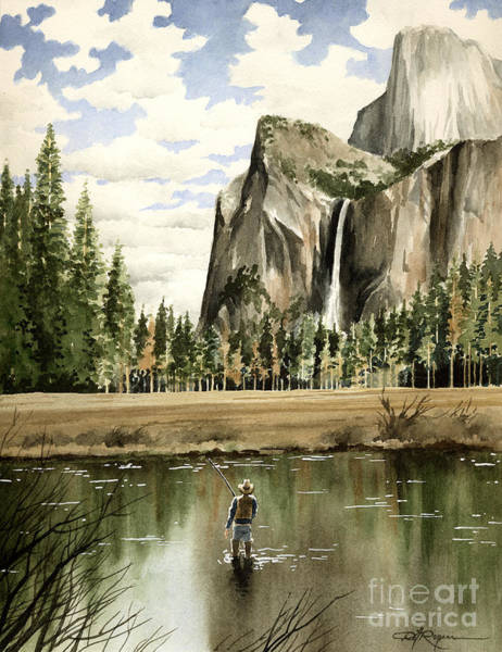 Trout Watercolor Wall Art - Painting - Flyin Yosemite by David Rogers
