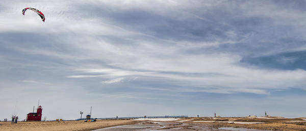 Holland Mi Wall Art - Photograph - Flying A Kite At The Beach by John Crothers