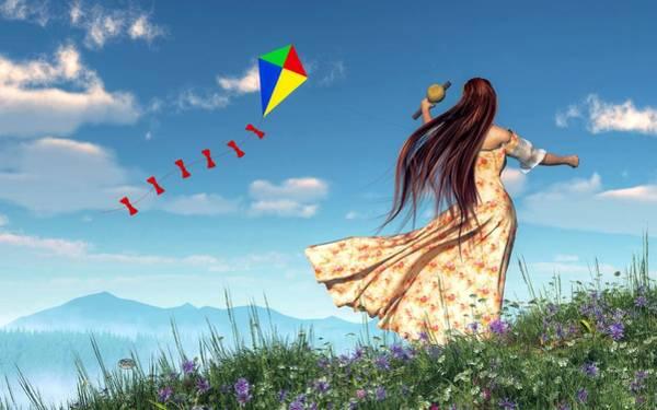 Digital Art - Flying A Kite by Daniel Eskridge