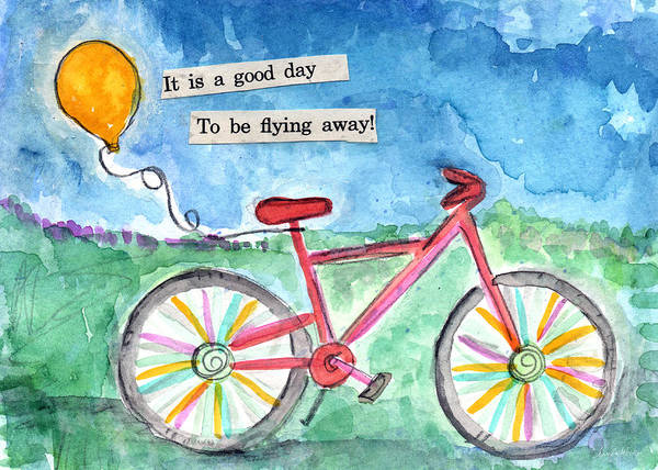 Bicycle Painting - Flying Away- Bicycle And Balloon Painting by Linda Woods