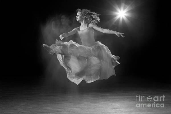 Photograph - Flying Ballerina In Black And White by Cindy Singleton
