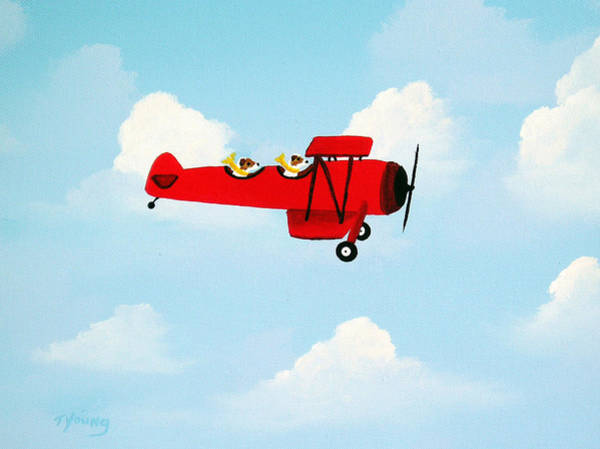 Fox Terrier Wall Art - Painting - Flying Duo by Todd Young
