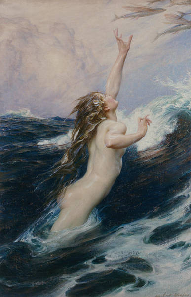 Unclothed Wall Art - Painting - Flying Fish by Herbert James Draper