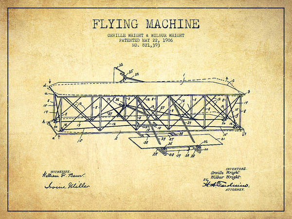Aircraft Digital Art - Flying Machine Patent Drawing From 1906 - Vintage by Aged Pixel