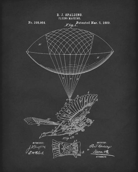 Drawing - Flying Machine Spalding 1889 Patent Art Black by Prior Art Design
