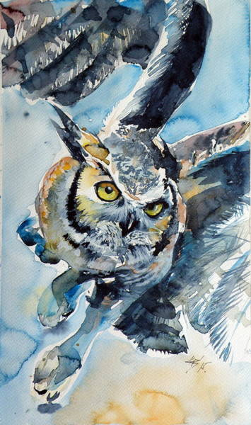 Owl Painting - Flying Owl by Kovacs Anna Brigitta
