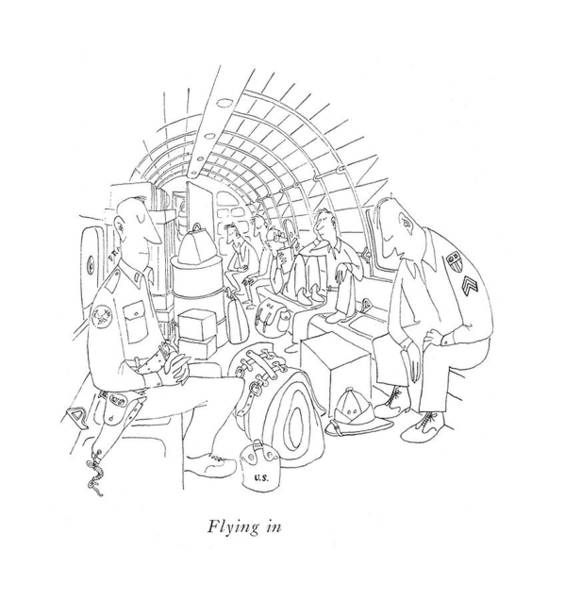 Pilots Drawing - Flying by Saul Steinberg