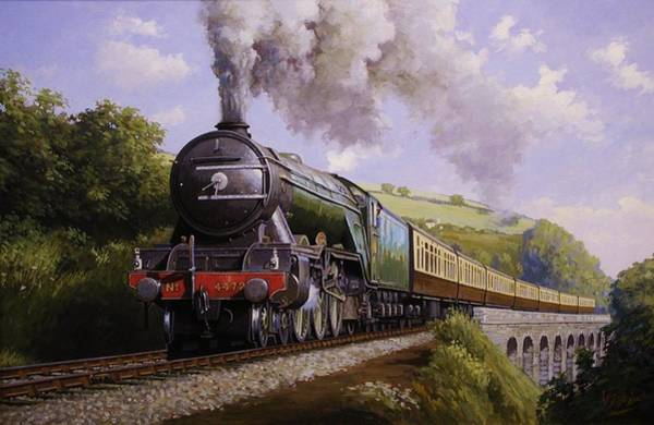 Vintage Train Painting - Flying Scotsman On Broadsands Viaduct. by Mike Jeffries