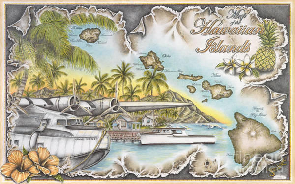 Ish Wall Art - Drawing - Flying The South Pacific by Mike Williams
