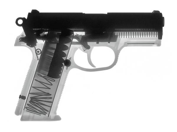 Wall Art - Photograph - Fn P9a Hand Gun X-ray Print by Ray Gunz