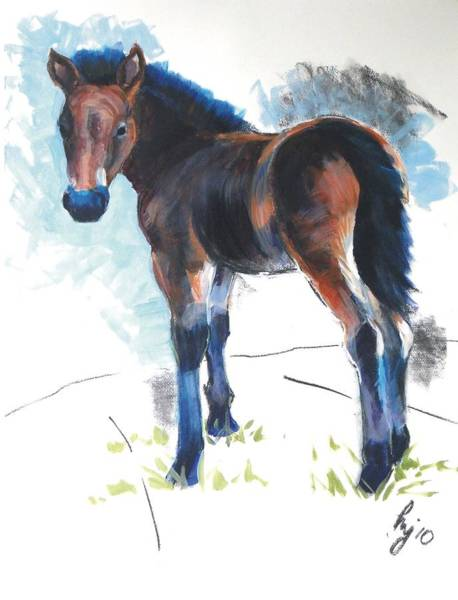Painting - Foal Painting by Mike Jory