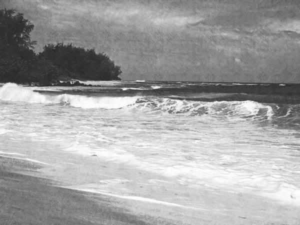 Photograph - Foamy Surf Pencil Rendering by Frank Wilson